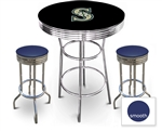 3 Piece Black Pub/Bar Table Featuring the Seattle Mariners MLB Team Logo Decal and 2 Blue Vinyl Covered Cushions on Swivel Stools