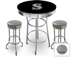 3 Piece Black Pub/Bar Table Featuring the Seattle Mariners MLB Team Logo Decal and 2 Gray Vinyl Covered Cushions on Swivel Stools