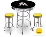 3 Piece Black Pub/Bar Table Featuring the Miami Marlins MLB Team Logo Decal and 2 Yellow Vinyl Covered Cushions on Swivel Stools
