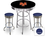 3 Piece Black Pub/Bar Table Featuring the New York Mets MLB Team Logo Decal and 2 Blue Vinyl Covered Cushions on Swivel Stools