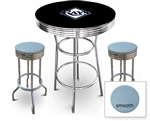 3 Piece Black Pub/Bar Table Featuring the Tampa Bay Rays MLB Team Logo Decal and 2 Baby Blue Vinyl Covered Cushions on Swivel Stools