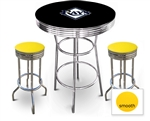 3 Piece Black Pub/Bar Table Featuring the Tampa Bay Rays MLB Team Logo Decal and 2 Yellow Vinyl Covered Cushions on Swivel Stools