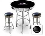 3 Piece Black Pub/Bar Table Featuring the Colorado Rockies MLB Team Logo Decal and 2 Black Vinyl Covered Cushions on Swivel Stools
