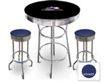 3 Piece Black Pub/Bar Table Featuring the Colorado Rockies MLB Team Logo Decal and 2 Blue Vinyl Covered Cushions on Swivel Stools