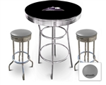 3 Piece Black Pub/Bar Table Featuring the Colorado Rockies MLB Team Logo Decal and 2 Gray Vinyl Covered Cushions on Swivel Stools