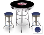 3 Piece Black Pub/Bar Table Featuring the Minnesota Twins MLB Team Logo Decal and 2 Blue Vinyl Covered Cushions on Swivel Stools