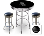 3 Piece Black Pub/Bar Table Featuring the Chicago White Sox MLB Team Logo Decal and 2 Black Vinyl Covered Cushions on Swivel Stools
