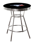 "MLB Black and Chrome 42"" Tall Toronto Blue Jays Team Logo Themed Bar Pub Table with a Glass Top Option"