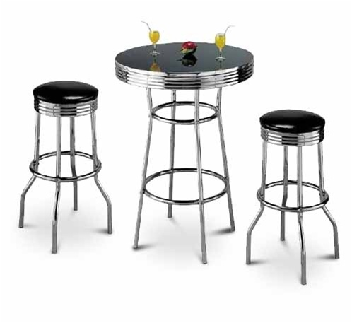 3 Piece Black Pub Bar Table Set With 2 29 Vinyl Swivel Seat Stools