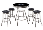 "Dallas Cowboys Black Pub/Bar Table 5 Pc Set NFL Team Logo Decal and 4-29"" Swivel Seat Team Logo Fabric Covered Cushions"