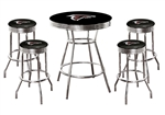 "5 Piece Black Pub/Bar Table Featuring the Atlanta Falcons NFL Team Logo Decal and 4-29"" Swivel Seat Colored Vinyl Covered Cushions with Team Logo Decals - Glass Top Option"