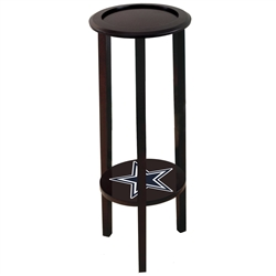 Dark Cappuccino / Espresso Plant Stand Accent Table with the Dallas Cowboys Team Logo