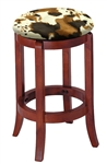 "24"" Tall Cherry Finish Swivel Seat Bar Stool with a Cowhide Faux Fur Covered Seat Cushion"
