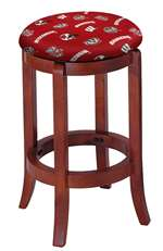 "1 - 24"" Tall Wood Bar Stool with a Cherry Finish Featuring a Badgers Football Team Logo Fabric Covered Swivel Seat Cushion"