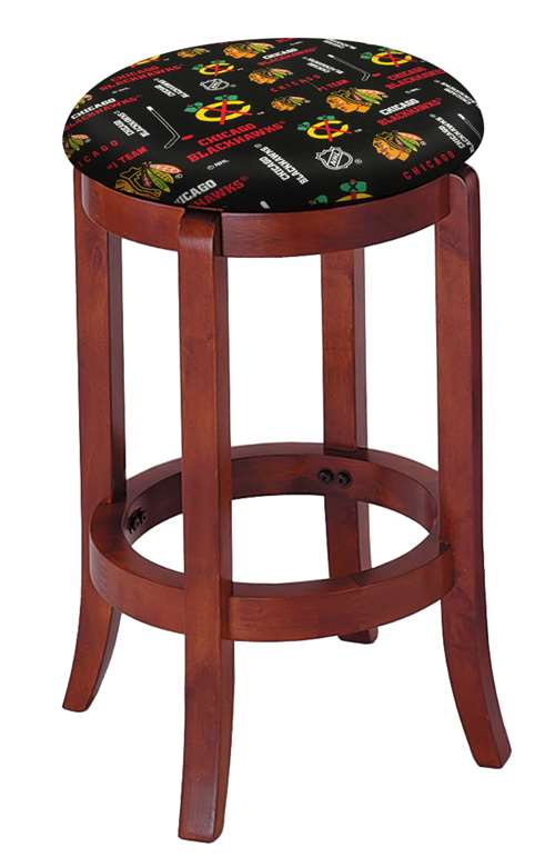 Admirable 1 24 Tall Wood Bar Stool With A Cherry Finish Featuring A Blackhawks Hockey Team Logo Fabric Covered Swivel Seat Cushion Short Links Chair Design For Home Short Linksinfo