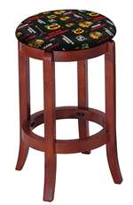 "1 - 24"" Tall Wood Bar Stool with a Cherry Finish Featuring a Blackhawks Hockey Team Logo Fabric Covered Swivel Seat Cushion"