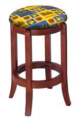 "1 - 24"" Tall Wood Bar Stool with a Cherry Finish Featuring a Bruins Hockey Team Logo Fabric Covered Swivel Seat Cushion"