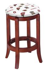 "1 - 24"" Tall Wood Bar Stool with a Cherry Finish Featuring a Buckeyes Football Team Logo Fabric Covered Swivel Seat Cushion"