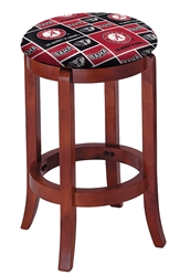 "1 - 24"" Tall Wood Bar Stool with a Cherry Finish Featuring a Crimson Tide A Football Team Logo Fabric Covered Swivel Seat Cushion"
