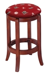"1 - 24"" Tall Wood Bar Stool with a Cherry Finish Featuring a Crimson Tide Football Team Logo Fabric Covered Swivel Seat Cushion"