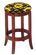 "1 - 24"" Tall Wood Bar Stool with a Cherry Finish Featuring a Hawkeyes Football Team Logo Fabric Covered Swivel Seat Cushion"