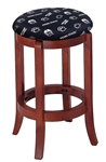 "1 - 24"" Tall Wood Bar Stool with a Cherry Finish Featuring a Lions Nittany Football Team Logo Fabric Covered Swivel Seat Cushion"