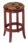 "1 - 24"" Tall Wood Bar Stool with a Cherry Finish Featuring a Longhorns Football Team Logo Fabric Covered Swivel Seat Cushion"