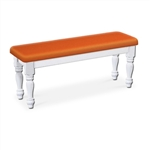 Orange Vinyl White Wooden Dining Bench