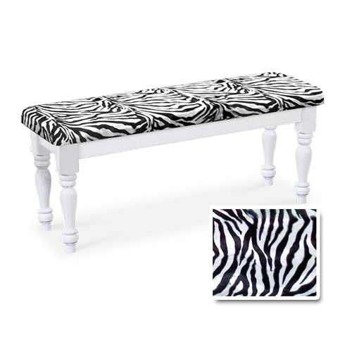 Outstanding White Finish Wooden Country Style Dining Bench With A Zebra Print Faux Fur Cushion Dailytribune Chair Design For Home Dailytribuneorg