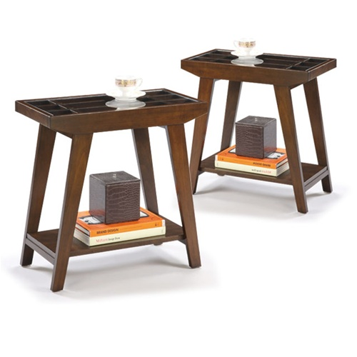 Two Chair Side Tables in an Espresso / Cappuccino Finish with Clear Glass  tops