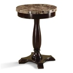 Marble Veneer Round Espresso End Table Plant Lamp Stand Table Living Room wood wooden accent table apartment accent table wood wooden furniture  living room end table side table traditional modern bedroom living room furniture nightstand accent table