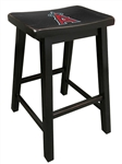 "1 - 29"" Tall Wood Bar Stool In a Black Finish Featuring the MLB Team Logo Decal of Your Choice"