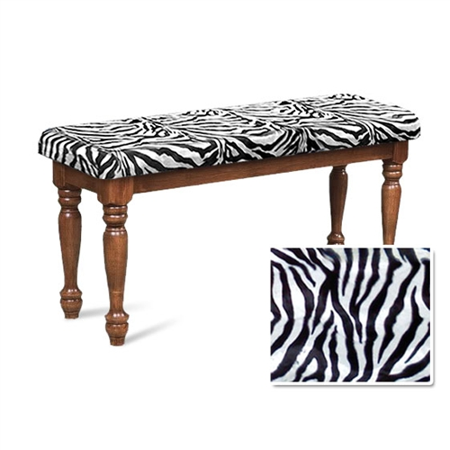 Fine Zebra Print Faux Fur Oak Finish Wooden Country Style Dining Bench Dailytribune Chair Design For Home Dailytribuneorg