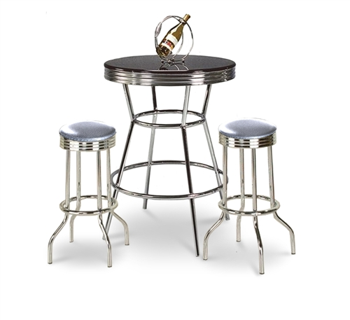 3 Piece Black / Chrome Bar Table U0026 2 Chrome Finish Glitter Silver Vinyl  Seat Barstools