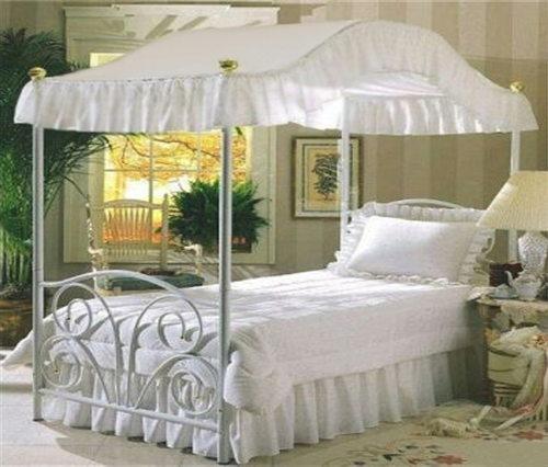 Solid White Queen Canopy Top Fabric Bed Bedroom Canopies