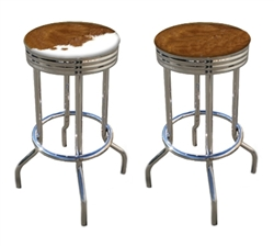 "2 - 24"" Genuine Authentic Medium Brown and White Cowhide Rawhide Cowboy Bar Stools"