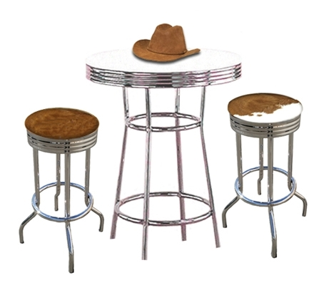 Two Rustic Man Cave Authentic Cowhide Leather Cowboy 29 Bar Stools Chrome Table Set Hair On Hide