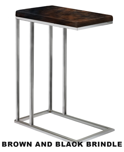 Accent End Side Table Tv Tray With A Chrome Metal Frame Featuring Your Choice Of An Authentic Cowhide Covered Top