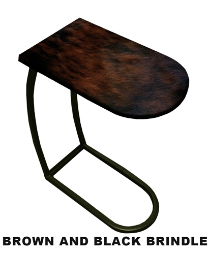 Accent End Side Table/TV Tray With A Black Metal Frame Featuring Your  Choice Of An Authentic Cowhide Covered Table Top