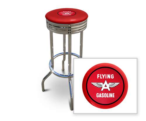 New 29 Tall Chrome Swivel Seat Bar Stool Featuring Flying A Gasoline Theme With Red