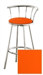 "New 24"" Tall Chrome Swivel Seat Bar Stool featuring an Orange Vinyl Covered Seat Cushion"