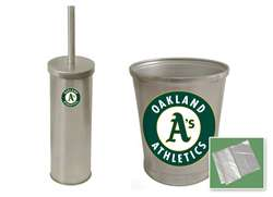 New Brushed Aluminum Finish Toilet Brush and Holder & Trash Can Set featuring Oakland A's MLB Team Logo