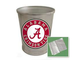 New Brushed Aluminum Finish Trash Can Waste Basket featuring Alabama Crimson Tide Sports Logo