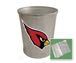 New Brushed Aluminum Finish Trash Can Waste Basket featuring Arizona Cardinals NFL Team Logo