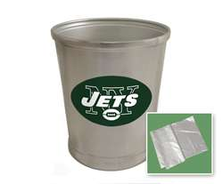 New Brushed Aluminum Finish Trash Can Waste Basket featuring New York Jets NFL Team Logo