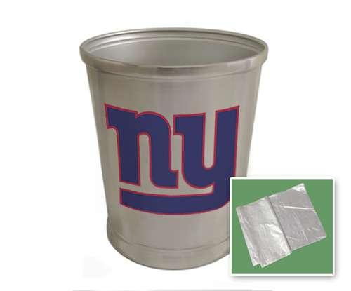 New Brushed Aluminum Finish Trash Can Waste Basket Featuring New York Giants Nfl Team Logo