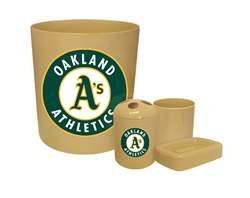New 4 Piece Bathroom Accessories Set in Beige featuring Oakland Athletics MLB Team logo!