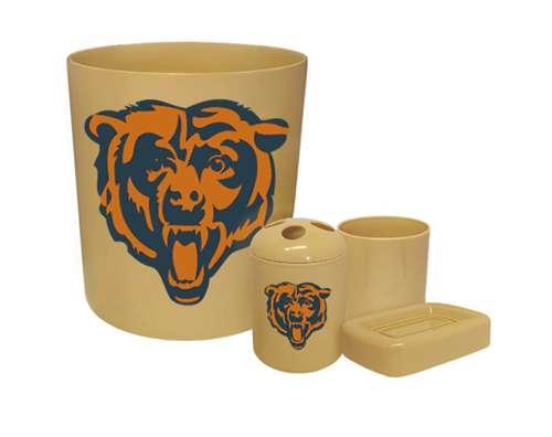 New 4 Piece Bathroom Accessories Set In Beige Featuring Chicago Bears Nfl Team Logo