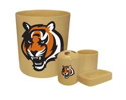 New 4 Piece Bathroom Accessories Set in Beige featuring Cincinatti Bengals NFL Team Logo