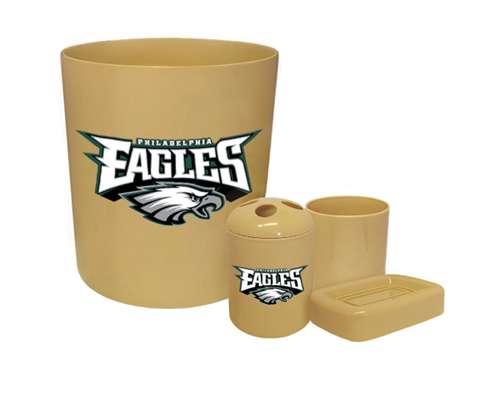 New 4 Piece Bathroom Accessories Set In Beige Featuring Philadelphia Eagles Nfl Team Logo